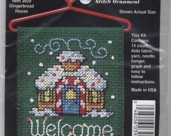 Gingerbread House Welcome Mini Counted Cross-Stitch Kit With Hanger