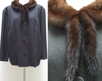 """Vintage 1940s 1950s Gray Wool Jacket with Brown Mink Collar Bust 47"""""""