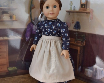 1880s Dress in Navy Blue Floral for 18 inch American Girl Doll