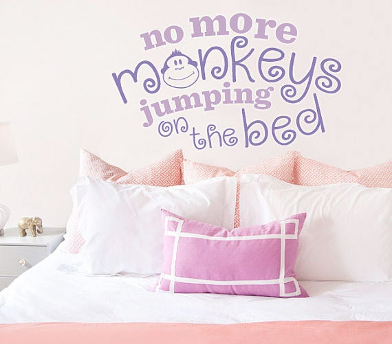 no more monkeys jumping on the bed vinyl wall decal nursery. Black Bedroom Furniture Sets. Home Design Ideas