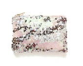 MERMAID Clutch.  Pink Sequin Clutch. Blush Sequin Clutch. Small Wedding Pouch. Petite Silver Sequin Evening Bag