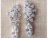Silver Crystal Weding Earrings, Crystal drop earrings, bridal earrings, Silver wedding jewelry,Teardrop Wedding earrings, CZ bridal Earrings