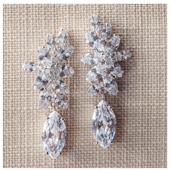 CZ Wedding Earrings, Cystal Bridal Earrings, Silver CZ Drop Earrings, Silver Wedding Jewelry, Silver Crystal Earrings, CZ Bridal earrings