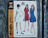 McCall 2390 1970s 70s Asymmetrical  Mini Mod Dress  Vintage Sewing Pattern Size 12 Bust 34