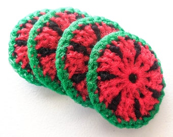 Crochet Nylon Dish Scrubbies - Set of 2 through 8 - Fun Watermelon Pot Scrubber