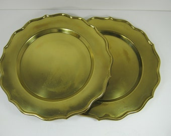 Vintage RUSTIC BRASS PLATES Set/2 Tarnished Patina Decor