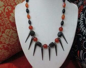 Halloween Queen Orange and Black Beaded Necklace with Gun Metal Spikes