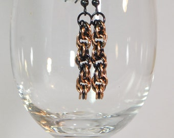 Black and Champagne Gold Spiral Chainmail Earrings
