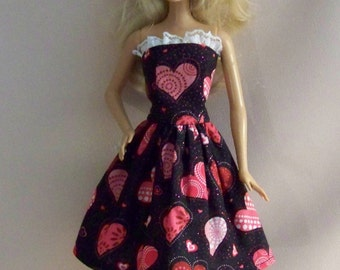 Handmade Barbie Doll Clothes-Valentine Hearts on Black Barbie Dress
