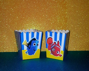 Finding Nemo Popcorn Boxes - Buffet Cards -  Favor bags - Popcorn Boxes - Dory Birthday party - Nemo party - YOU CHOOSE ITEMS
