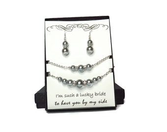Silver Bridesmaid Jewelry - Grey Bridesmaid Jewelry - Silver Bridal Jewelry - Pearl and Rhinestone - Bridal Necklace - Pearl Bridesmaid Set