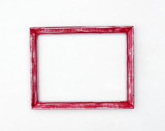 Distressed red frame - 10x13, red and white, textured picture frame