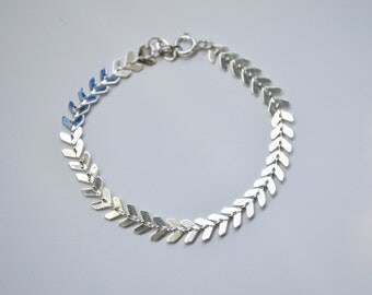 Silver Fishbone Choker Bracelet, Silver Bracelet, Chevron Chain Bracelet, Silver Chevron Bracelet