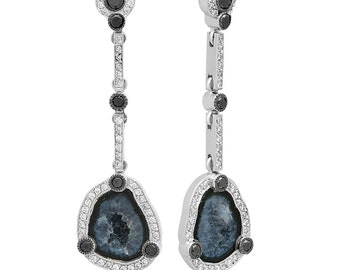 Unique Diamond Halo Black Diamonds Geode Drop Earrings in 14k White Gold, Unique one of a kind raw stones drop earrings | ready to ship!
