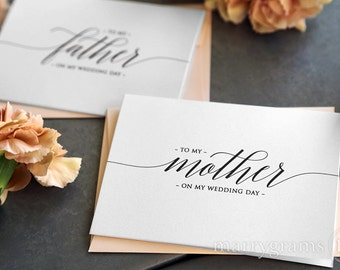 Wedding Card to Your Mother and Father - To My Parents of the Bride Groom Cards - Stepmother, Stepfather On My Wedding Day (Set of 2) CS13