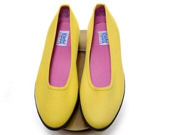 1980's KEDS Essentials ballet flats / yellow vintage Keds slip on flats / 80s bright yellow keds / women's size 8.5 M