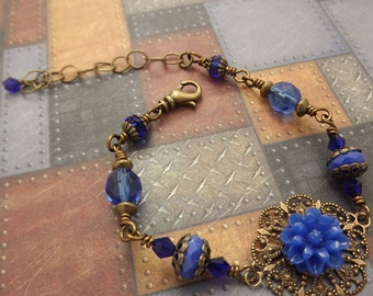 Cobalt Blue Carnation on a Brass Victorian Bracelet