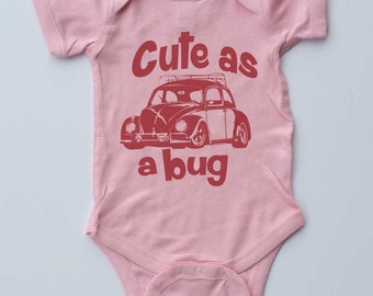 Baby Girl Onepiece-CUTE as a BUG-VW Beetle-Baby Girl-Pink girl bodysuit,cute baby crawler,Baby gift,infant gift,shower gift,new parent gift