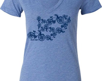 Women's Bicycle T-Shirt-Dancing Bicycles-Ladies Bicycle T-shirt-Blue V-neck,Bicycle gift for her, bike gift,mother's day gift,bike tee