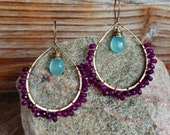 Island. Hammered Artisan Boho Gold Brass Chandelier Drop Earrings with Wire Wrapped Aqua and Purple Chalcedony Gemstones-Boho Sea Summer Art