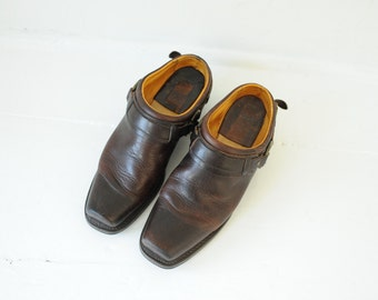 Vintage Frye Brown Leather Mules, Made in USA, Womens 9 1/2