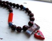 Key to my heart - handmade necklace, heart jewellery, red necklace, bead necklace, key necklace, songbead, uk, heart necklace,