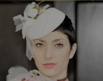 The Sybille Hat - Bridal Hat - Fascinator w/ Rose - Ivory Fascinator Hat - Wedding Hat - Formal Hat - Birdcage Veil - Spring Hat - Millinery