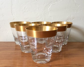 Vintage Gold Band Double Old Fashioned Glasses Set of 6 Dorothy Thorpe Mad Men Mid-Century Rocks Lowball Barware Hollywood Regency