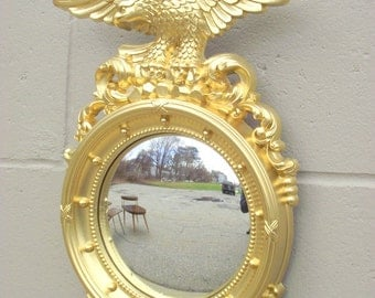 Gold Federal Bulls Eye Mirror with Eagle - Medium - Wall Hanging Mirror - American Retro - Bullseye