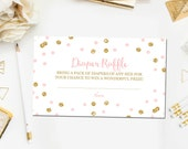Pink and Gold Baby Shower Diaper Raffle Ticket Cards, Diaper Raffle Ticket Printable Instant Download, Diaper Game, Baby Diaper Raffle BB1