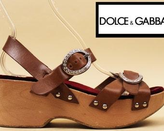 90s Y2K Dolce & Gabbana Leather + Wood PLATFORM Rhinestone Sandals / Couture Runway Boho Hippie Glam 70s Style / 9 - 8.5 Eu 40