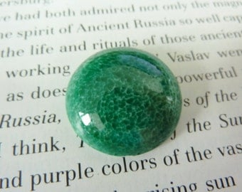 1 glass cabochon, Ø24mm, marbled green, round
