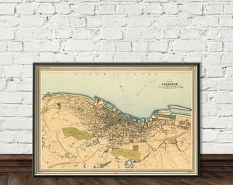 Greenock map - Old map of  Greenock - Archival print