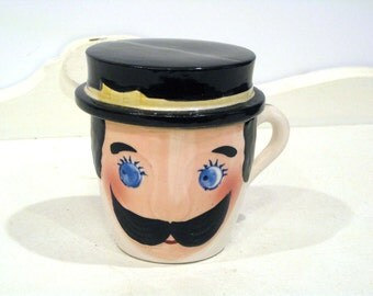 Vintage Mug - Ashtray - Man with Mustache & Hat - Coffee Cup - Relco - Japan - 1960's