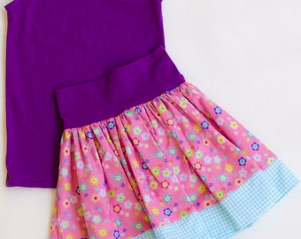 Girls Tank Top and Skirt Set Pink and Purple Floral