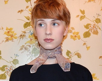 1970's Sheer Floral Scarf