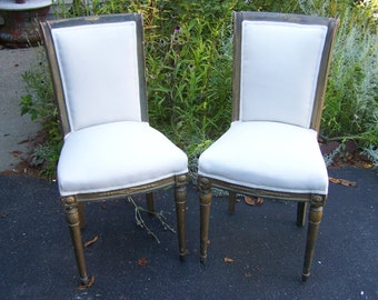 vintage pair of chairs,french style chairs 1960's,solid wood chairs,shabby chic chair,cottage chic chairs,chaise lounge,classic simple lines