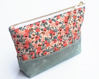 Floral Zipper Bag, Cosmetic Pouch, Travel Bag, Waxed Canvas Base, Coral and Sage Green
