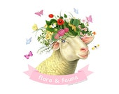 Sheep art print by Fiammetta Dogi 5x7 - Animal Illustration - Animal art - Flora and Fauna