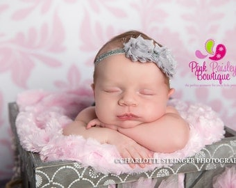 Baby headbands - Gray Newborn Headband - Baby Girl Headbands - Baby Hair Accessories - Infant Headband - Baby Hair Bows. Baby Bows