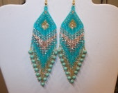 Native American Beaded Bright Turquoise and Gold Earrings Southwestern Hippie Boho, Gypsy, Brick Stitch, Peytote, Ready to Ship