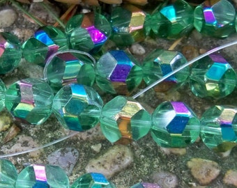Glass Beads 10 mm Polygons Ab 1 new strand Great for Shamballa Bracelets Green