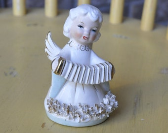 Porcelain Spaghetti Angel with Accordian Beautiful Turquoise and Gold Hand Painted
