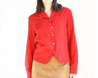 bright red 80s secretary blouse