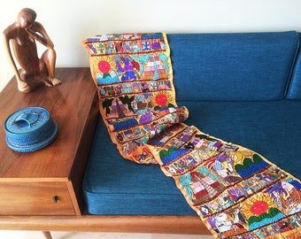 Vintage 1950s 1960s Tlaquepaque Mexico Mexican Hand Embroidered Fabric Textile Throw Table Runner Mayan People Parrot Birds Ethnic Textile