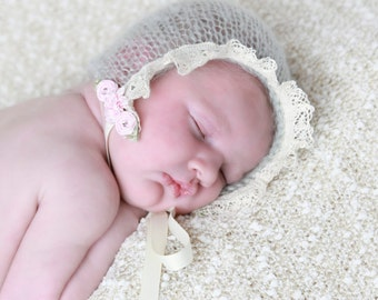 Sage Mohair Bonnet for Newborn, Vintage Trim and Pink Satin Roses. Perfect for Newborns for photo shoots, photographers, Lil Miss Sweet Pea