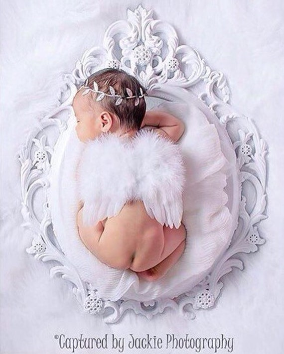 White Feather Angel Wings AND/OR Silver Foil Leaf Headband for newborn photos, bebe foto, prop, photographers, Lil Miss Sweet Pea