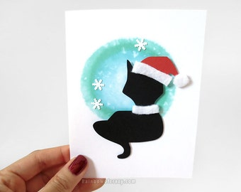 Christmas Cat Card, Holiday Card, Santa Claus, Black Cat Art, Paper Cut Card, Custom Message, Personalized Name, Snowflakes, Animal Lover