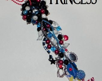 The Kiddazzler - Princess Themed Bead Ball - Blue, Red, White and Black - Princess, Deer, Leaf, 7, Mirror, Apple and Believe - Kids Decor