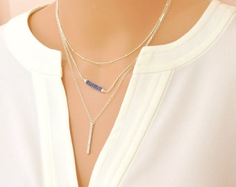 Blue Sapphire Necklace, cz Diamond Bar Necklace, Delicate Silver chain Necklace, September Birthstone Jewelry, Gift For Her
